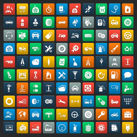 car spare parts: car repair 100  icons set for web Illustration