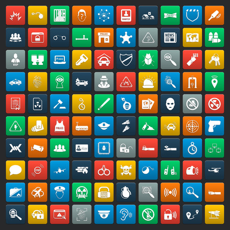 shielding: security 100 icons set for web flat