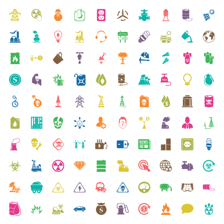 icon collection: industry 100 icons set for web flat