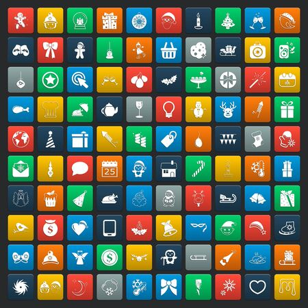 christmas 100 icons new year universal set for web and mobile flat Illustration