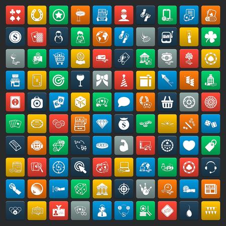 fichas casino: casino 100 iconos conjunto universal para web y móviles