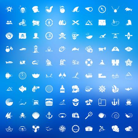 ship captain: sea 100 icons universal set for web and mobile