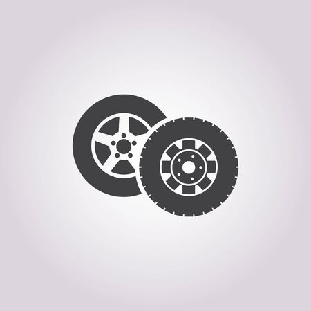 summer tires: wheel car icon on white background for web Illustration