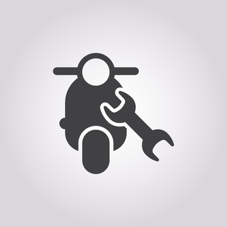 moped: moped repair icon on white background for web Illustration
