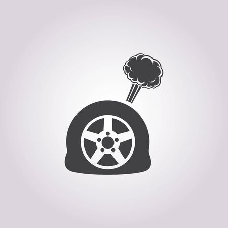 puncture: puncture wheel icon on white background for web