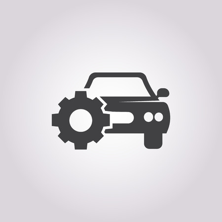 spoiler: car with cogwheel icon on white background for web Illustration