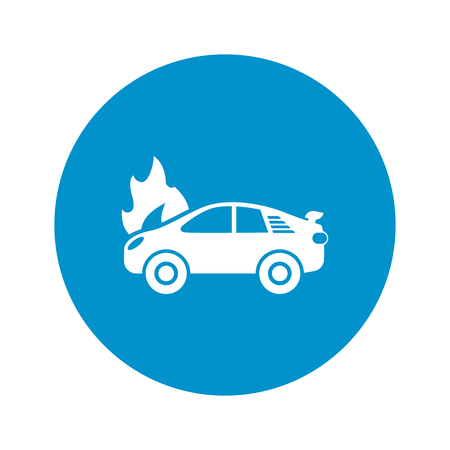car fire icon on white background for web Illustration