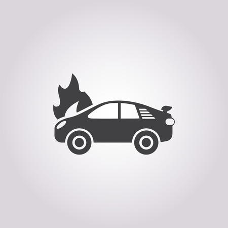 fire pit: car fire icon on white background for web Illustration