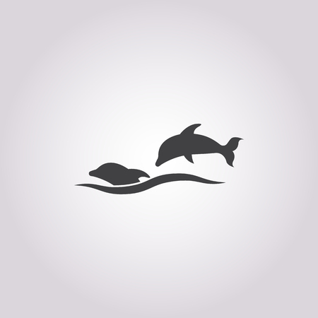 tail fin: dolphin icon on white background for web