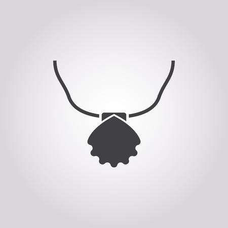 necklace: necklace of seashells icon on white background for web Illustration