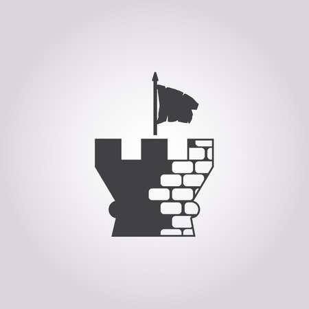 fort: fort icon on white background for web Illustration