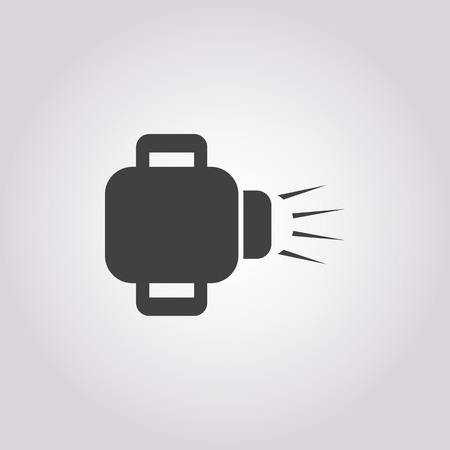 lighting button: flashlight icon on white background for web Illustration