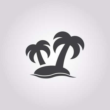 desert island: island icon on white background for web Illustration