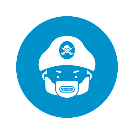 tricorn hat: pirate icon on white background for web Illustration