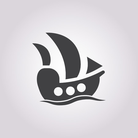 schooner: ship icon on white background for web