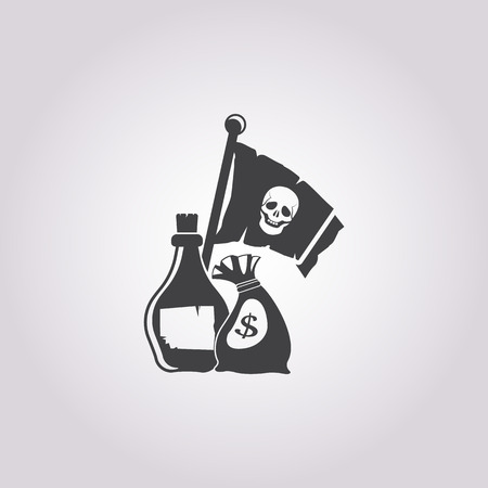 booty pirate: bag of money icon on white background for web