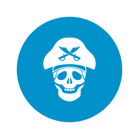 duel: skull and saber icon on white background for web Illustration