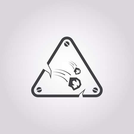 rockfall: rockfall warning icon on white background for web