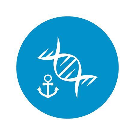 marinero: icono de ADN marino sobre fondo blanco para la web