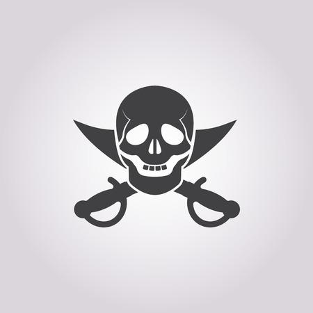 saber: skull and saber icon on white background for web Illustration