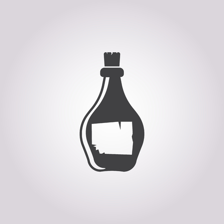 rum: bottle of rum  icon on white background for web