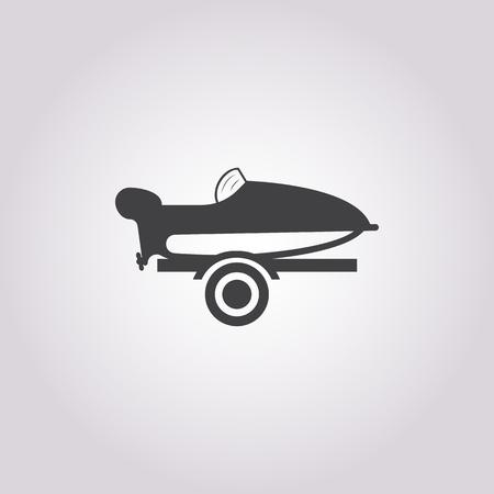 mooring: motor boat  icon on white background for web