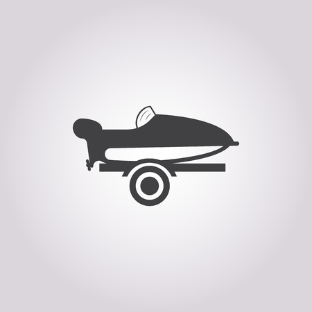 motor boat  icon on white background for web