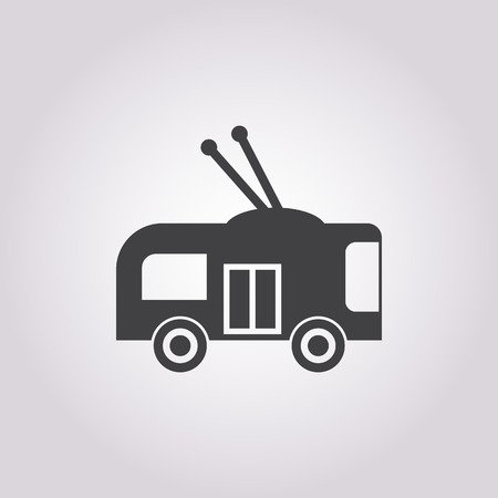 trolleybus: trolleybus icon on white background for web