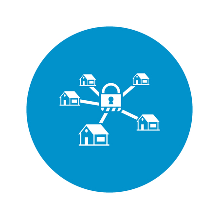 guarded: security system icon on white background for web