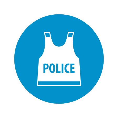 flak: police flak jacket icon on white background for web