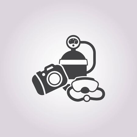 diving: diving equipment icon on white background for web Illustration