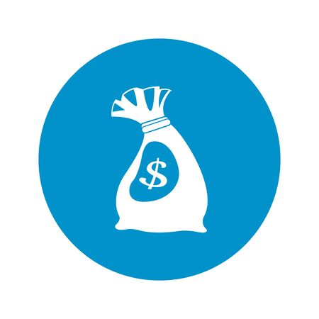 loot: bag of money icon on white background for web