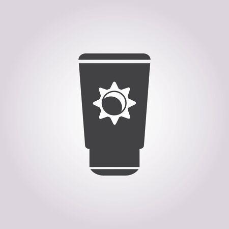 sunblock: sunblock cream icon on white background for web