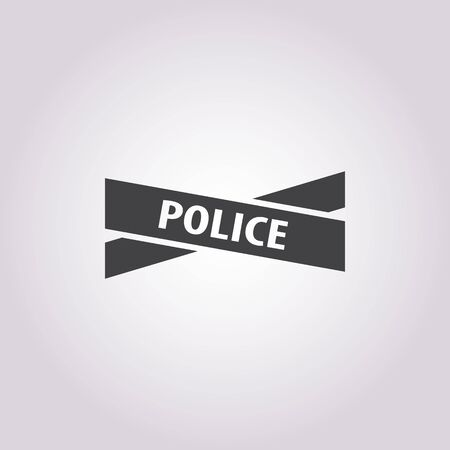 police tape: police tape icon on white background for web