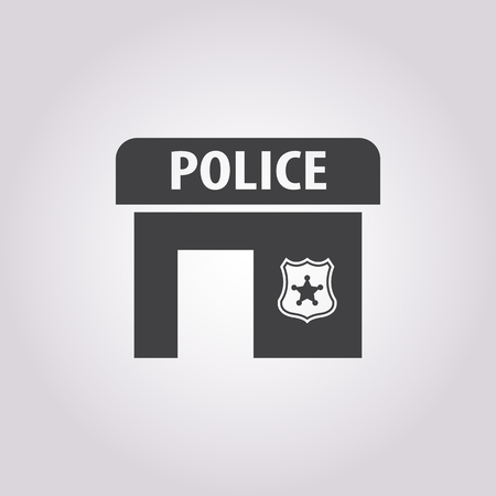 policing: police station icon on white background for web Illustration
