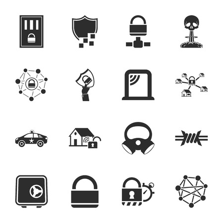 security 16 icons universal set for web and mobile flat Illustration