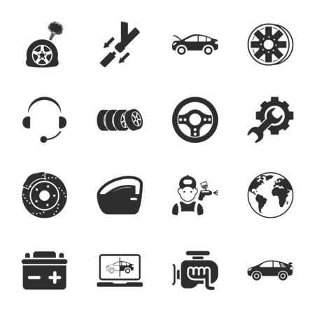 car repair  16 icons universal set for web and mobile flat