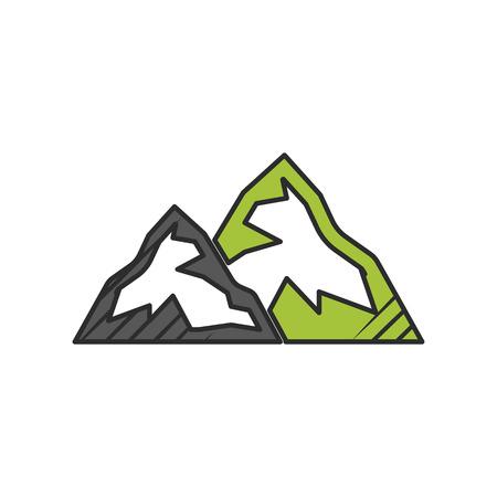 winter range: mountain icon on white background for web
