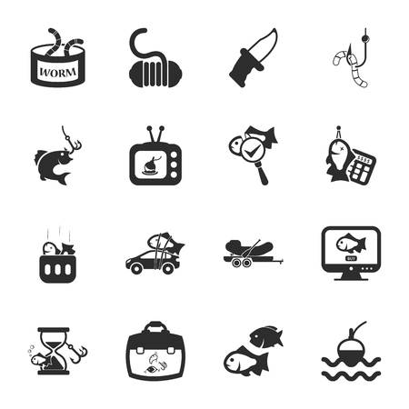worm gear: fishing 16 icons universal set for web and mobile flat