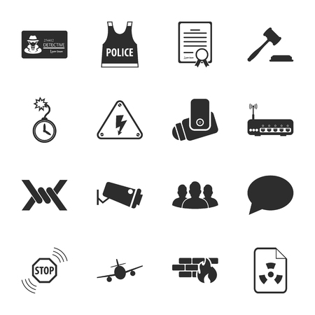 16: security 16 icons universal set for web and mobile flat Illustration