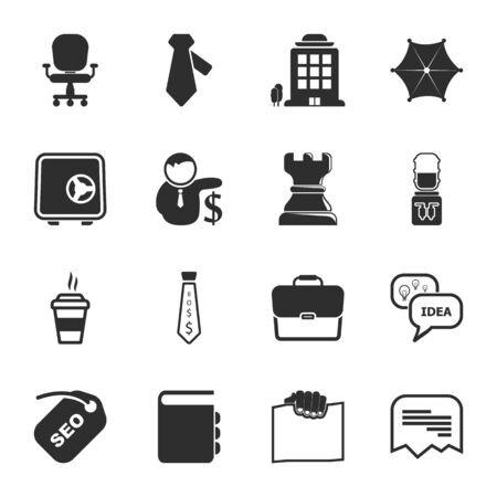 16: office 16 icons universal set for web and mobile flat Illustration