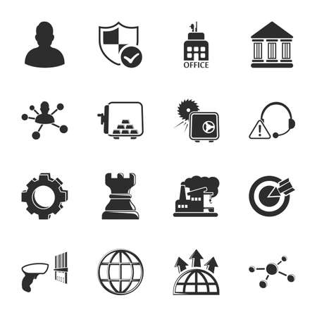 bussines: bussines, finance 16 icons universal set for web and mobile flat Illustration