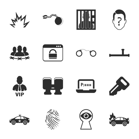 fire wire: security 16 icons universal set for web and mobile flat Illustration