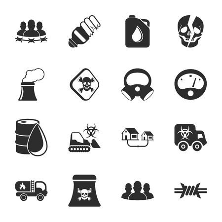 industry 16 icons universal set for web and mobile flat Illustration