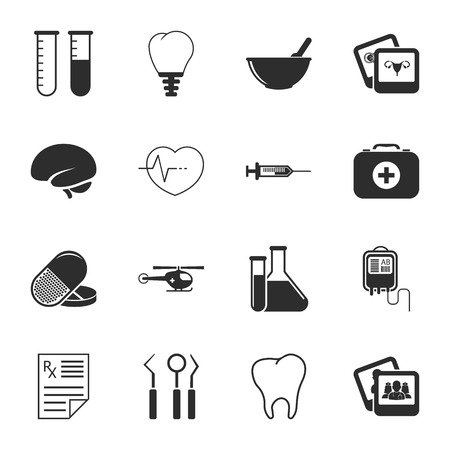 16: medicine 16 icons universal set for web and mobile flat Illustration