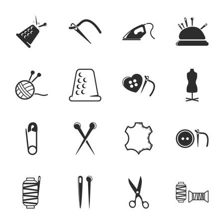 sewing needle: sewing 16 icons universal set for web and mobile flat Illustration