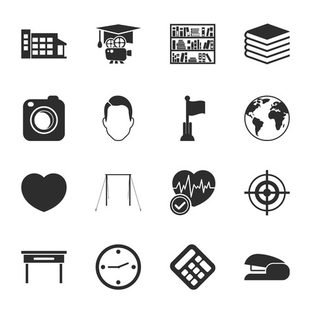 crossbar: school 16 icons universal set for web and mobile flat Illustration