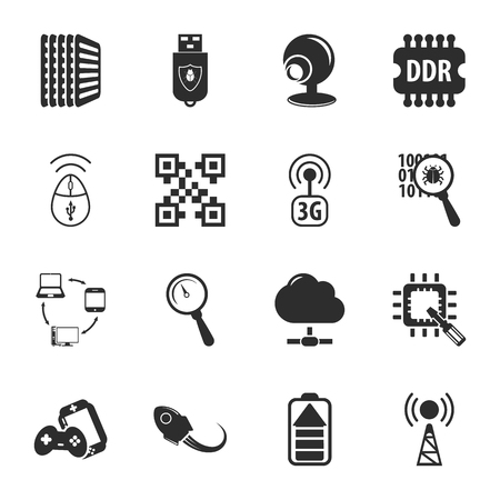 16: computer, technology 16 icons universal set for web and mobile flat