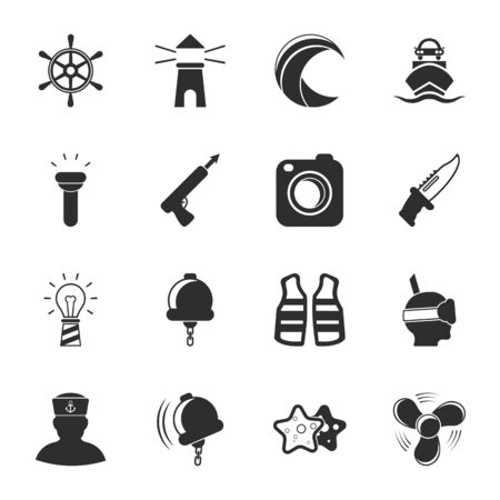 harpoon: sea 16 icons universal set for web and mobile flat