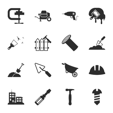 16: repair, building 16 icons universal set for web and mobile flat